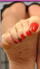 Red polished toes